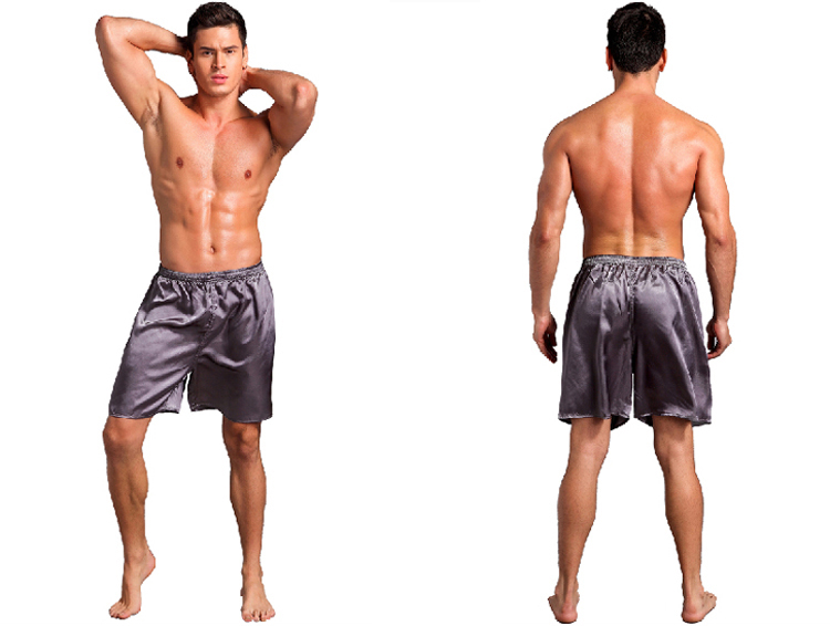 Men Sexy Silk Satin Sleep Bottoms Solid Lounge Pants Soft Pijama Short Summer Sleeping Shorts Home Pajama Pants Sleep Pants 3
