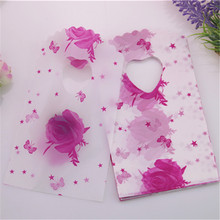 2015 Hot Sale New Fashion Wholesale 50pcs/lot 9*15cm Pink Rose Gift Packaging Bags With Stars Small Birthday Package Gift Bags(China)