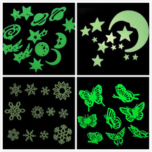 Fluorescence Glow in Dark Luminous Moon Star Butterfly Snowflake Baby Room Home Decor Wall Stickers for Kids Rooms Decal GYH