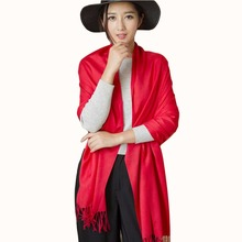 Black Red Gray yellow Solid Shawl Wraps Long Loose Colorful Faux Cashmere Design scarves for women stoles winter autumn scarf(China)