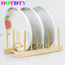OOTDTY Wooden Drainer Plate Stand Wood Dish Rack 7 Pots Cups Display Holder Kitchen Tools APR11_10