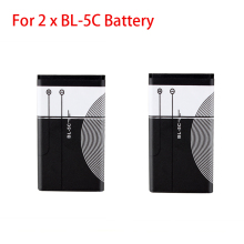 2Pcs 1020mah BL-5C Replacement Battery For Nokia 1112 1208 1600 1100 1101 n70 n71 n72 Mobile Phone Rechargeable Battery Batteria