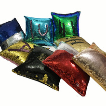 Double Color Sequined Beads Sofa Cushion Pillow Covers European Mermaid Pillowcase Lovely equins Throw Cafe Home Decoration