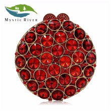 Mystic River Luxury Crystal Clutches Bag Women Wedding Ruby Bags Red Glass Stones Shoulder Chain Clutch Purses(China)