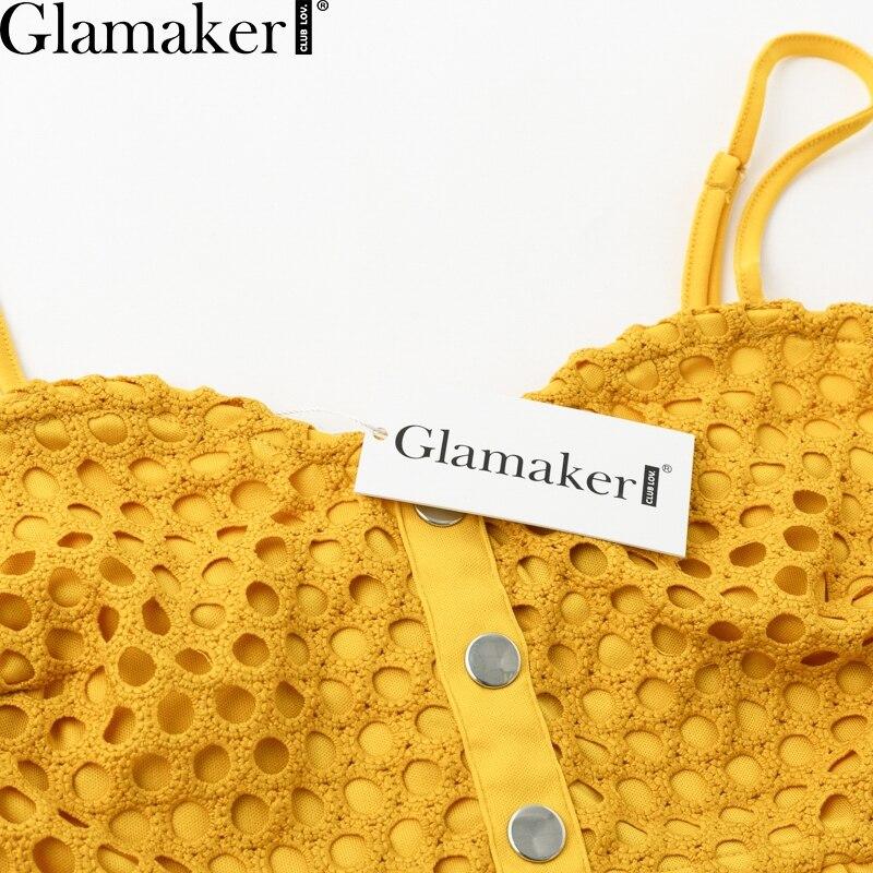 Glamaker Hollow out sexy yellow long dress Women lace ruffle button sundress Bodycon summer party dress night vestidos de festa 5