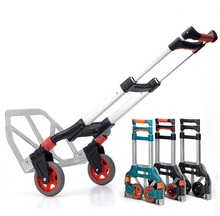 60kg Capacity Multi Functional Aluminum Alloy Folding Hand Truck and Dolly Trolley for Indoor Outdoor Travel Shopping Offi(China)