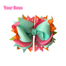 "Your Bows 2017 Rushed Top Children 5.5""diy Girls Hair Clips Boutique Stacked Bows For Accessories(China)"