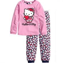 2017 new cotton baby girls sets kids Hello kitty pajama sets  pijama infantil for girls children's pyjamas kids clothing