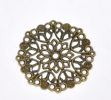 Buy Free shipping-50Pcs Antique Bronze Filigree Flower Wraps Connectors Metal Crafts Decoration DIY Findings Connectors 35mm J0038 for $3.44 in AliExpress store