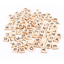 Hot 100Pcs Wooden Scrabble Letters Scrapbooking Wedding Photo Props Decor Word Toys Gifts For Children IQ Props
