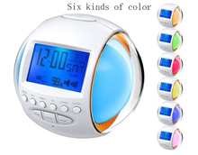 2017 New Alarm Clock Thermometer with Backlight Control Radio Colorful Natural Sound Discoloration Calendar Battery Circular
