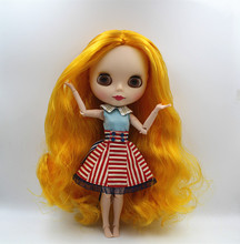 Blygirl Blyth doll Golden Coat Scrub Face Nude Doll 30cm Multi-joint Body DIY Doll Can Change Makeup Toy Gift(China)