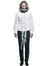 New Gothic Punk Men's Shirt Long Sleeve With Flower Stand Collar Dovetail Male Black White Blouse Shirt(China)