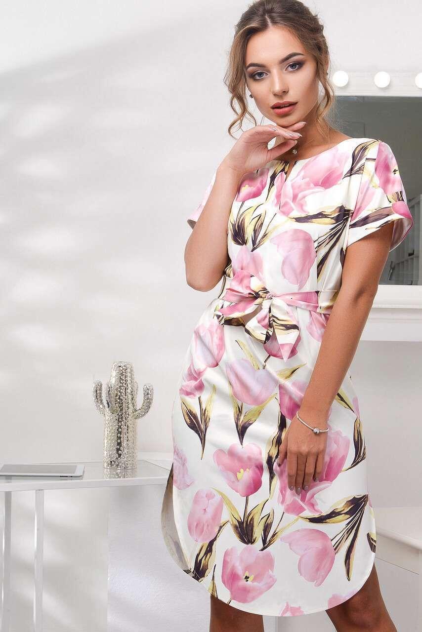 2018 Spring Summer Printed Women Dress O-Neck Hem Side Split Ladies Dresses Tie Sashes Short Sleeve Casual Sexy Female Vestidos 6