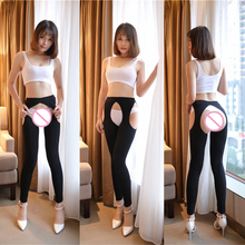Buy Sexy Women Ice Silk Hollow Open Crotch Transparent Leggings See Pencil Pants Erotic Lingerie Club Wear Black White FX17