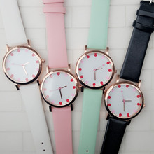 2016 First Sell Three Hand Movement Cabinet Women Watch, Faux Leather Strap Heart-Shaped Second Hand Rose Gold-Tone Case Watch(China)