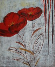 Cheap still life red flower Decorative art paintings from china -- Fine Art Prints Canvas for Wall(China)