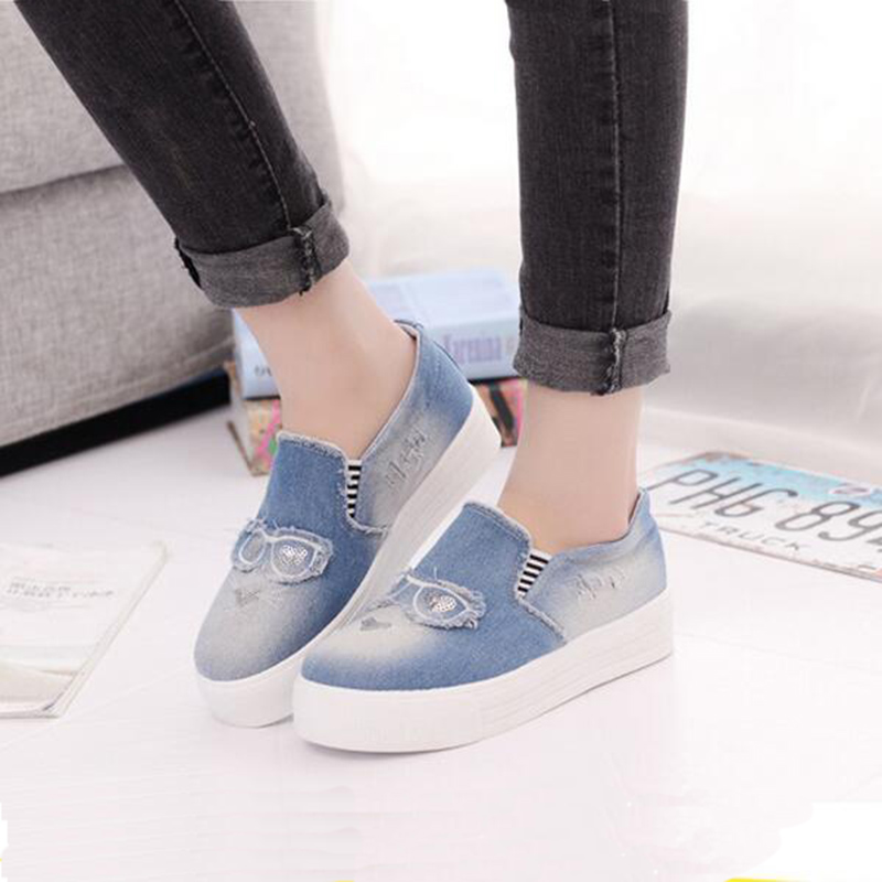 2017 Spring Fall New Denim Women Singles Shoes Muffin Bottom Canvas Shoe For Female Blue A Padel Lazy Loafers Shoes XP35<br><br>Aliexpress