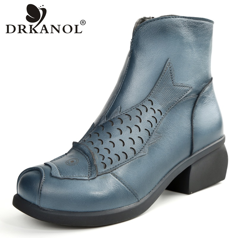 DRKANOL DRKANOL big size 35-41 Retro Women Boots 2018 Cowhide Genuine Leather Thick Heel Ankle Boots Women Winter Warm Shoes<br>