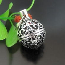 GraceAngie 1pcs Antique Silver Ball Pendant Fragrance Essential Oil Aromatherapy Diffuser Charms Necklace Accessory 28*24*20mm(China)