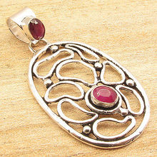 Retro Fashion Com Au,  Silver Plated Fancy rubi 2 Red Gem Pendant 5.0 CM