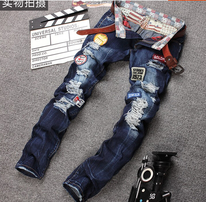 Europe STYLE ripped jeans feet stretch denim jeans men Jean with hole syle GH210Одежда и ак�е��уары<br><br><br>Aliexpress