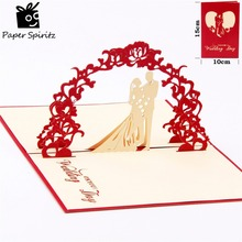 3D pop up Romantic wedding invitation Lover Valentines Day Postcards greeting card laser cut handmade New year decor gifts(China)