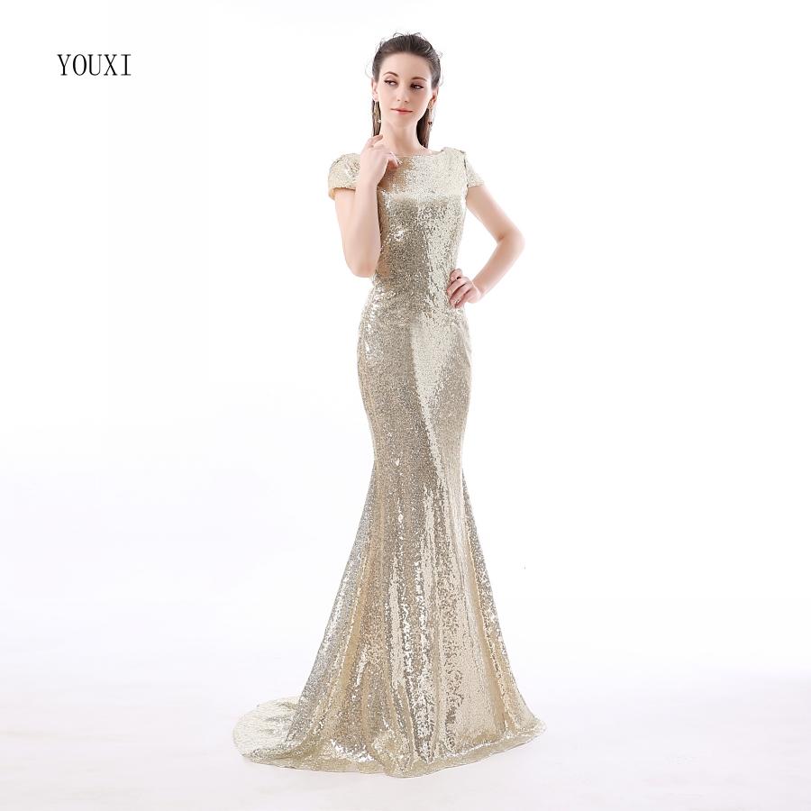 Champagne Sequin Bridesmaid Dresses 2017 Hot Long Wedding Party Dress vestidos de festa vestido longo Prom Dress 5