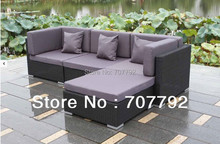 2017 New Arrive Simple Garden Rattan Furniture Purple Sofa Set