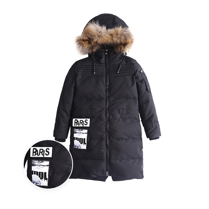 2017 new arrival boy down jacket kids long thick winter fur collar coat jackets for Boy childrens outerwear <br>
