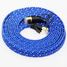 Fabric Braided Ultra Flat CAT-7 10 Gigabit RJ45 Ethernet Cable For Modem Router LAN Network Gold Plated RJ45 Connector