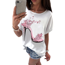 Summer New Top 2017 Batwing Sleeve Loose Butterfly High-heeled Shoes Print Shirt Casual Street Fashion Women's T Shirts(China)