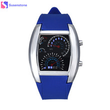 Fashion Military Aviation Turbo Dial Flash LED Watch Men Silicone Band Quartz Car Meter Design Sports Watches relogio masculino(China)