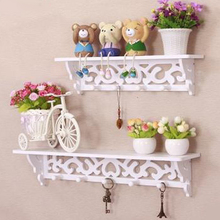 2016 Wall Shelf Home Decor Wood White Curved Wall Shelf Holder Storage Stand Cut Out Design(China)