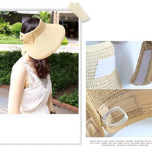 2017 New Spring Summer Visors Cap Foldable Wide Large Brim Sun Hat Beach Hats for Women Straw Hat Wholesale Chapeau