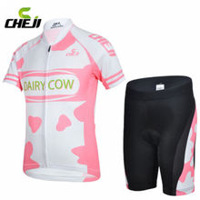 CHEJI Childrens Ropa Ciclismo Cute Pink Outdoor Sports Short Sleeve Jersey Bike Cycling Bicycle Shorts Set Kits