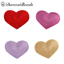 DoreenBeads 3 PCs Polyester Patches Appliques DIY Scrapbooking Craft Heart Red Purple Golden Fuchsia Sequins Appareal Sewing