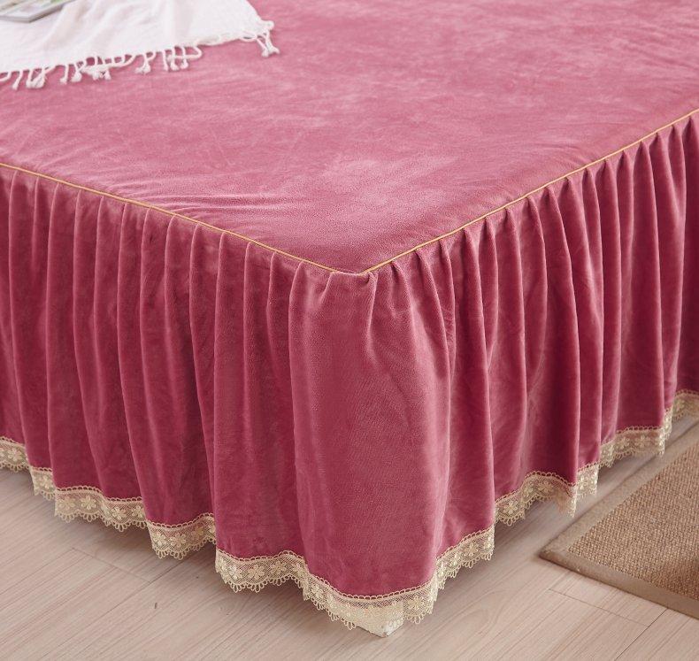 3Pcs Fleece Bed Skirt Set W/ Pillowcases, Mattress Protective Cover 17
