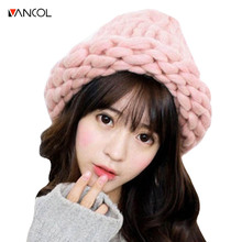 Vancol Brand Winter Handmade Knitted Women Pink Beanies Luxury Warm Candy Beanie Cap Winter Fall Wool Knitted Crude Hat Women