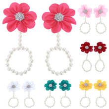 2pcs Baby Pearl Shoes DIY Lace Pearl Diamond Flowers Baby Shoes Infant Newborn Barefoot Ring Sandals Shoes Chiffon Flower Pearl