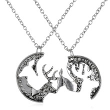 Deer Necklace Buck And Doe Necklace Custom Necklace Hunting boyfriend and girlfriend pendant necklace set gift(China)