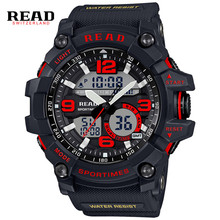 READ Top new 90001 Men Sport Military Quartz Watches Round 55mm Dial Large Digital Scale Analog Wrist StopWatch Relogio militan