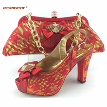 New fashion African shoe and bag set for party Italian shoe with matching bag new design ladies matching shoe and bag Italy red