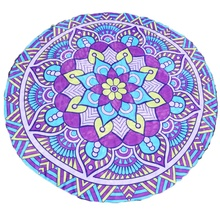New Home Beach Mat Large Round Lotus Flower Printed Mandala Flower Beach Mat Shawl Throw Mats Tablecloth Hanging