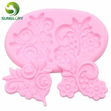 3D Fondant Flower Silicone Mold Silicon Lace Mold Sugar Craft Silikon Mould Gum Paste Soap Mold For Cake Decoration Bakeware