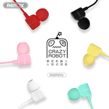 Remax 3.5mm Earphone HIFI Music CRAZY ROBOT In Ear Wire Headsets with Mic Jack Wire Control for iphone 6 7 samsung mobile Phone(China)