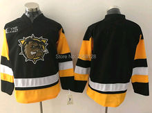 cheap movie Ice Hockey Jersey Hamilton Bulldogs blank black Embroidery sewing SIZE:S-3XL Accept customized, any name number