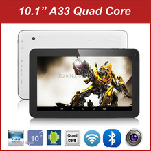 Wholesale 10 inch Tablet PC Allwinner A33 Quad Core Android 4.4 Dual Camera RAM 1GB ROM 8G/16GB Bluetooth,10pcs/lot dhl free(China)