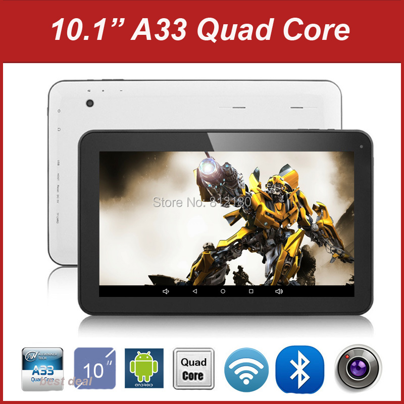 Wholesale 10 inch Tablet PC Allwinner A33 Quad Core Android 4.4 Dual Camera RAM 1GB ROM 8G/16GB Bluetooth,10pcs/lot dhl free(China (Mainland))