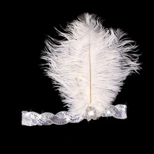 White Crystal Sequins Ostrich Feather Headpiece Vintage Headband Flapper ee